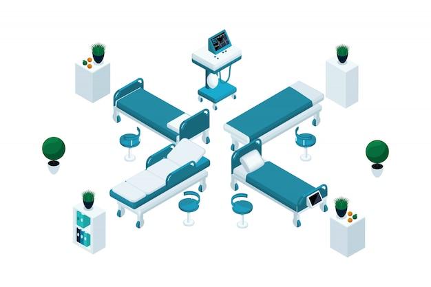 Muebles médicos en isométrico, hermoso set para publicidad y presentaciones.