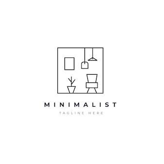 Muebles minimalistas logo símbolo