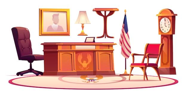 Muebles de oficina oval en casa blanca