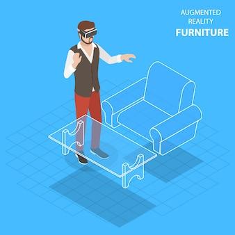 Muebles de realidad aumentada plana isométrica