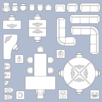 Muebles de reunión de oficina, iconos de línea de vector de plan de arquitectura