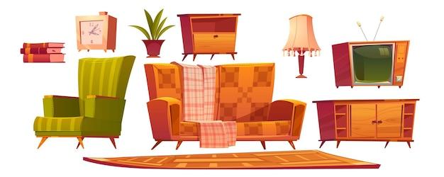 Muebles de sala de estar antiguos retro y sofá de cosas