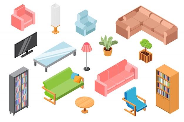 Muebles de sala de estar, ilustración, constructor isométrico de muebles 3d y accesorios aislados en blanco, diseño de interiores de salón.