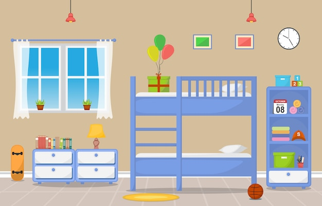 Muebles del sitio interior del dormitorio de los niños del bebé del niño