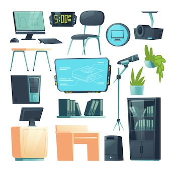 Muebles de vector para aula de informática escolar
