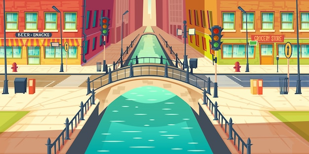 Muelle de la ciudad, canal de agua en vector de dibujos animados de la calle de la ciudad con aceras vacías, tienda de comestibles y vitrinas de bar o cerveza, calle de la ciudad que cruza el río con la arquitectura retro puente ilustración arco