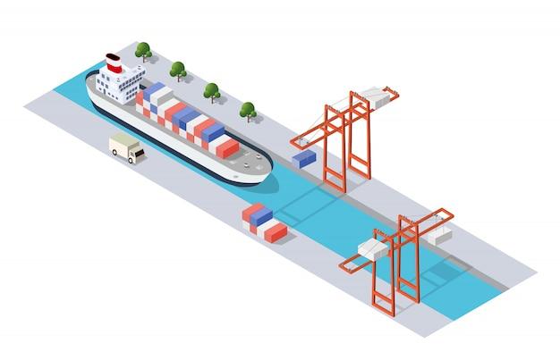 Muelle industrial ciudad isométrica