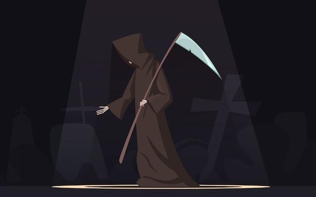 Muerte con la guadaña figura simbólica de parca con capucha negra en fondo oscuro de foco