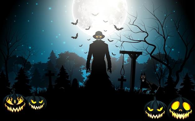 Muerte de halloween con parca y calabazas en el cementerio