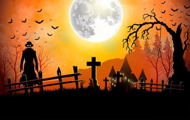Muerte de halloween con parca en el cementerio