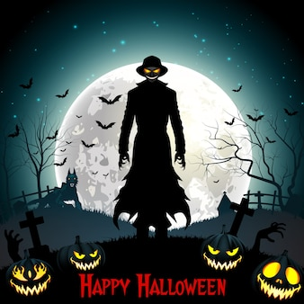 Muerte de halloween con parca, lobo y calabazas en el bosque