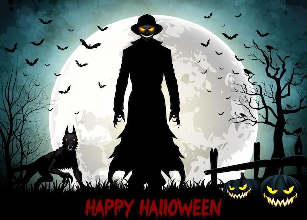 Muerte de halloween con parca, lobo y calabazas