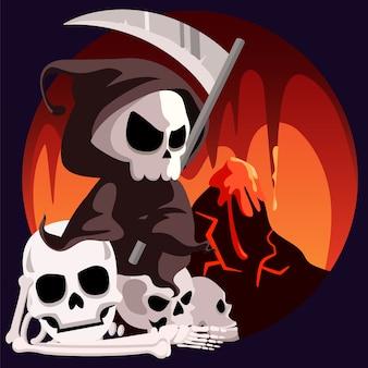 Muerte parca se sienta en el infierno