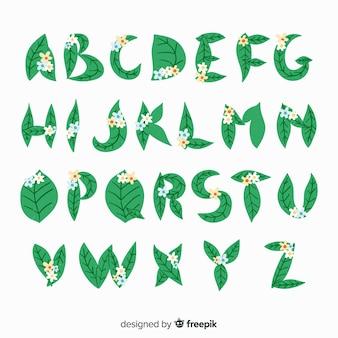 Muestra abecedario floral plano