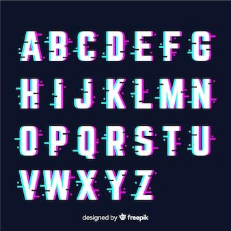 Muestra abecedario glitch
