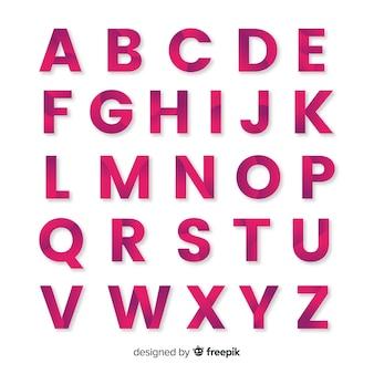 Muestra abecedario monocromático degradado