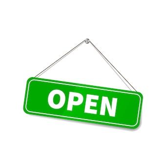 Muestra abierta brillante brillante que cuelga en la cuerda para la puerta de la tienda en blanco