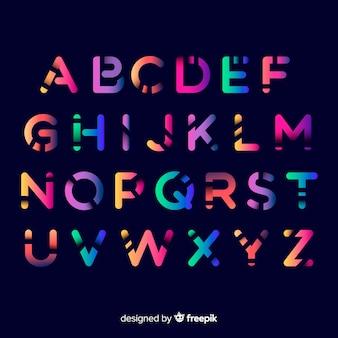 Muestra alfabeto degradado colorido