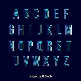 Muestra alfabeto degradado monocromático