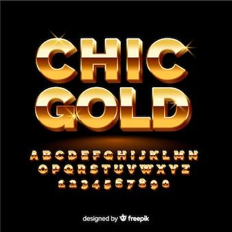 Muestra alfabeto dorado