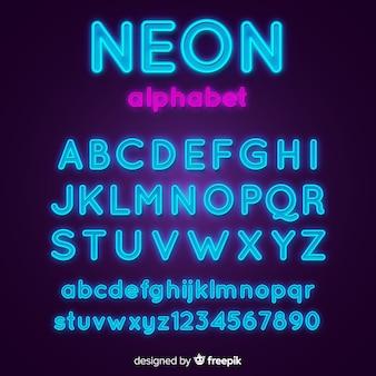 Muestra alfabeto neón