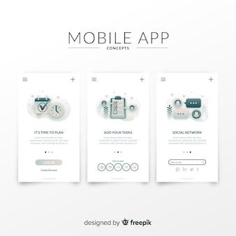 Muestra banner aplicación móvil dibujada a mano