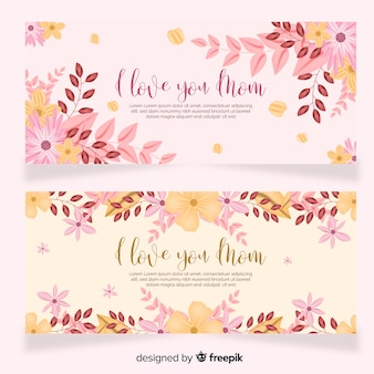 Muestra banner floral día de la madre