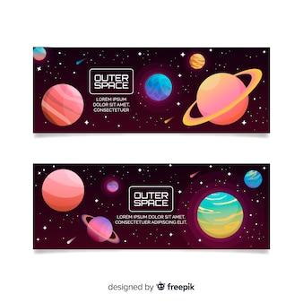 Muestra banner galaxia colorido dibujado a mano