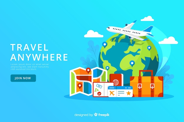 Muestra banner de viajes plano