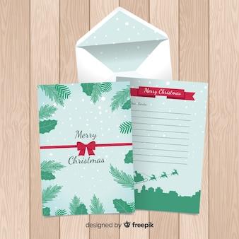 Muestra carta navidad silueta trineo