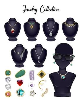 Muestra colección de ilustraciones de estilos de joyería
