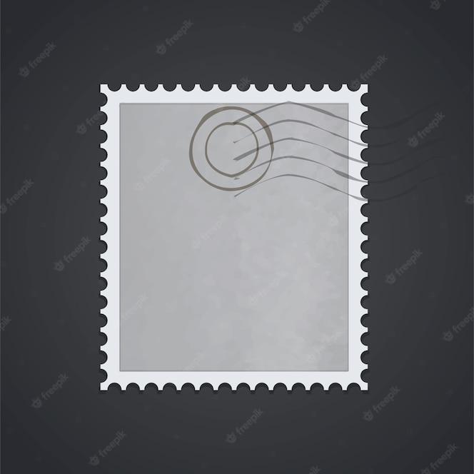 Muestra de sello postal sobre fondo negro.