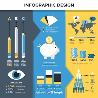 Muestra diseño infografía plana