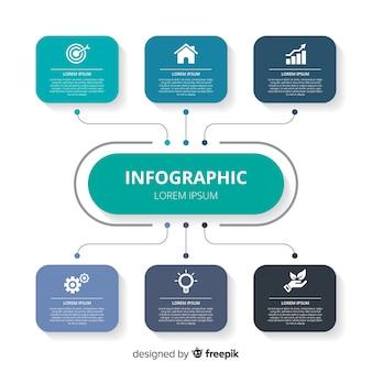 Muestra diseño infografía plano