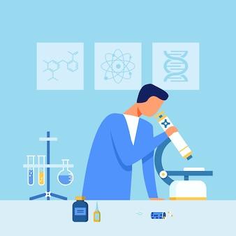 Muestra de drogas de examen científico bajo microscopio