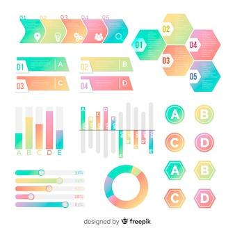 Muestra elementos infografía degradados