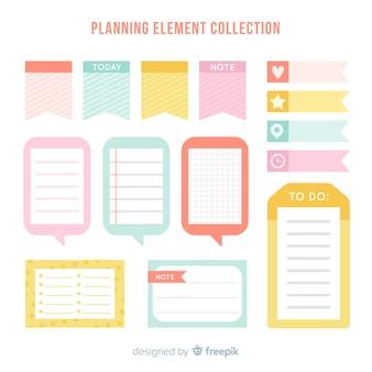 Muestra de elementos de planificación creativos