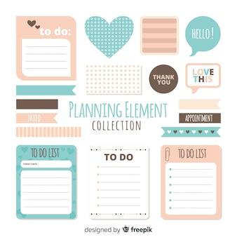 Muestra de elementos de planificación