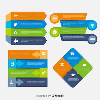 Muestra elementos planos infografía