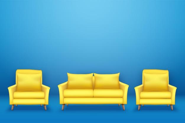 Muestra la escena interior con un moderno sofá amarillo con sillas en la pared azul.