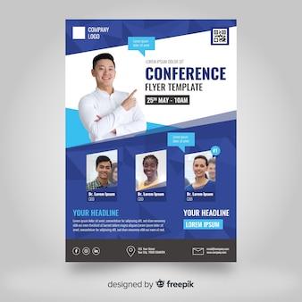 Muestra flyer abstracto plano conferencia de negocios