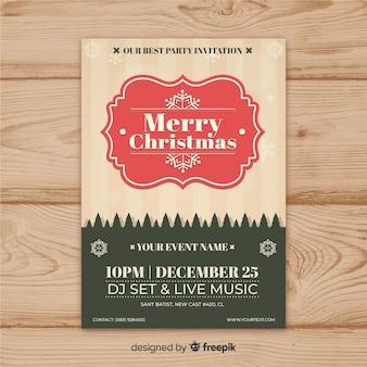 Muestra flyer marco vintage fiesta navidad