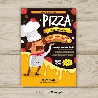 Muestra flyer pizza cocinero dibujado a mano