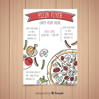 Muestra flyer pizza dibujado a mano