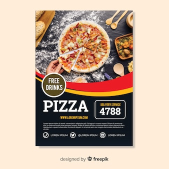 Muestra flyer pizza fotográfico