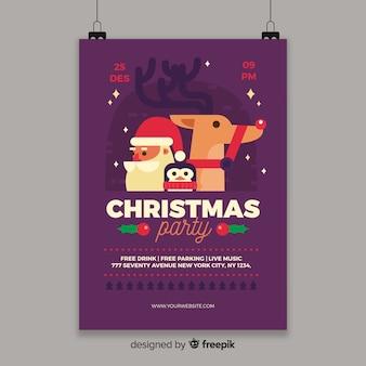 Muestra flyer poster personajes  fiesta navidad