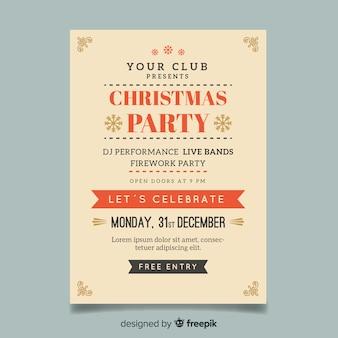 Muestra flyer poster simple fiesta navidad