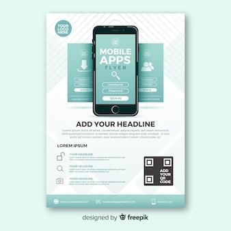 Muestra flyer simple aplicación móvil