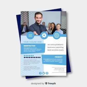 Muestra folleto plano conferencia de negocios