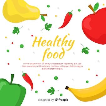 Muestra fondo comida sana colorida